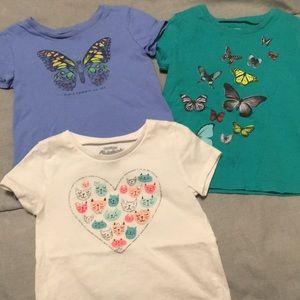 THREE toddler girl Osh Kosh tees great shape!